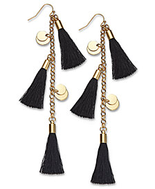 I.N.C. Gold-Tone Disc & Tassel Linear Drop Earrings, Created for Macy's