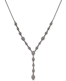 "I.N.C. Silver-Tone Pavé Lariat Necklace, 24"" + 3"" extender, Created for Macy's"