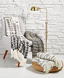 Oxford Collection Black & Cream Throw Collection, Created for Macy's