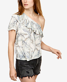 Lucky Brand Floral-Print One-Shoulder Top