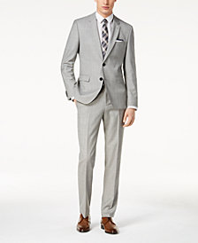 HUGO Men's Modern-Fit Light Gray Textured Suit