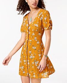 Trixxi Juniors' Printed Button-Up Dress