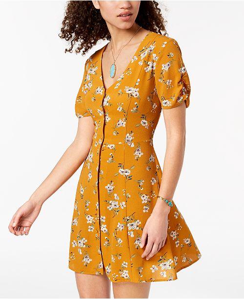 Juniors' Button Trixxi Floral Mustard Printed Dress Up TfqAw