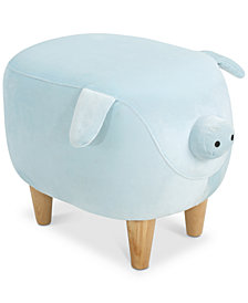 Ashton Velvet Pig Ottoman, Quick Ship