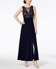 Nightway Regular & Petite Sequined A-Line Gown