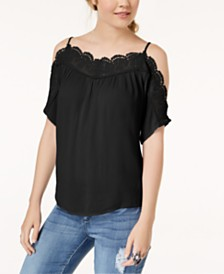 Gypsies & Moondust Juniors' Crochet Cold-Shoulder Top