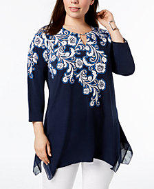 JM Collection Plus Size Printed and Embellished Tunic Top, Created for Macy's
