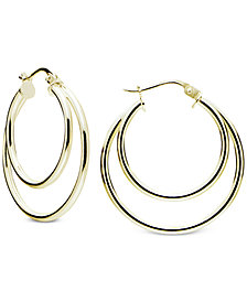 Giani Bernini Double Hoop Earrings in 18k Gold-Plated Sterling Silver, Created for Macy's