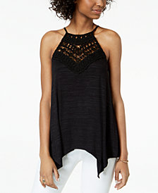 BCX Juniors' Crochet-Trimmed Tank Top