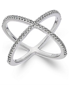 Diamond X Ring (1/3 ct. t.w.) in Sterling Silver