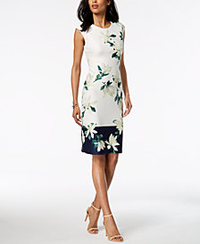 Vince Camuto Printed Border Sheath Dress