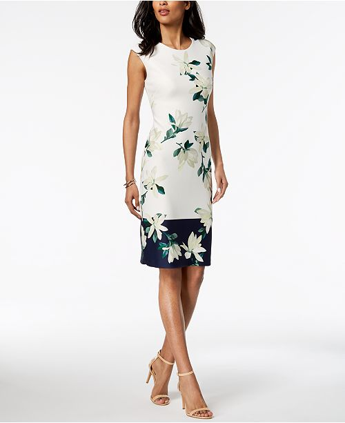 Ivory Sheath Camuto Vince Floral Navy Printed Border Dress OBqR4S