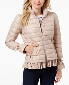 Bernardo Ruffled Packble Puffer Coat