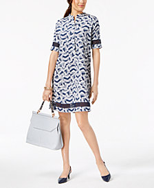 Alfani Petite Printed Crochet-Trim Dress, Created for Macy's