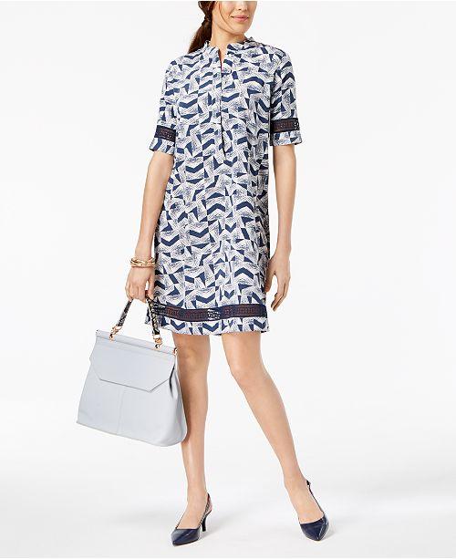Shirtdress Created Alfani Crochet Trim Sketch Arrowhead for Macy's ztz8SwqxE