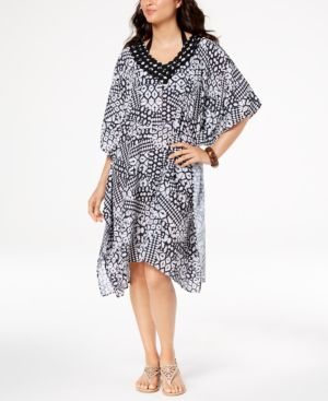 PROFILE BY GOTTEX Profile By Gottex Printed Caftan Cover-Up Women'S Swimsuit in Black/White