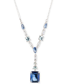 "Carolee Silver-Tone Crystal 18"" Lariat Necklace"