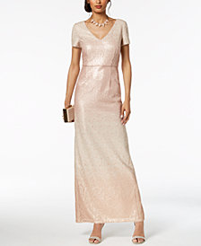 Adrianna Papell Sequined Ombré Gown