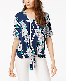 Alfani Printed Tie-Hem Top, Created for Macy's