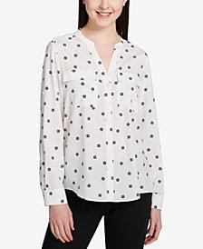 Calvin Klein Printed Split-Neck Top