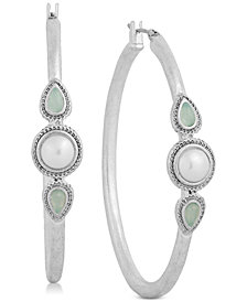 Lucky Brand Silver-Tone Imitation Pearl Hoop Earrings
