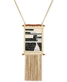 "Lucky Brand Gold-Tone Bead & Chain Fringe 30"" Statement Necklace"