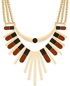 "Lucky Brand Gold-Tone & Wood Statement Necklace, 16"" + 2"" extender"