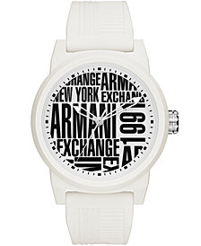 A|X Armani Exchange Men's White Silicone Strap Watch 46mm