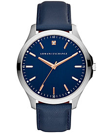 A|X Armani Exchange Men's Blue Leather Strap Watch 46mm