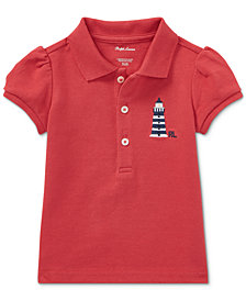 Ralph Lauren Puffed-Sleeve Cotton Polo Shirt, Baby Girls