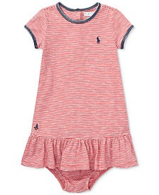 Ralph Lauren Drop-Waist Cotton T-Shirt Dress, Baby Girls