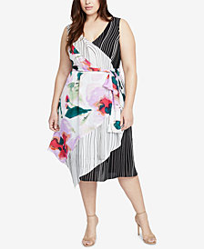 RACHEL Rachel Roy Trendy Plus Size Mixed-Print Wrap Dress