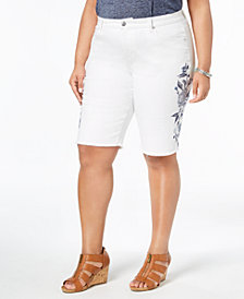 Style & Co Plus Size Embroidered Denim Bermuda Shorts, Created for Macy's