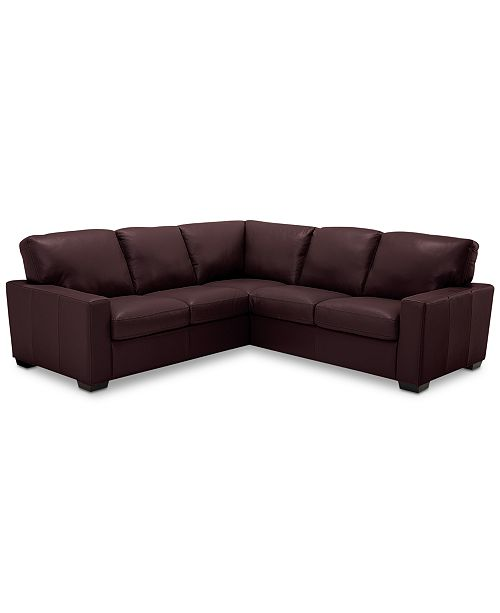 Ennia 2-Pc. Leather Sectional Sofa, Created for Macy\'s