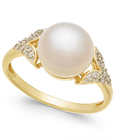 Honora Style Cultured Freshwater Pearl (9mm) & Diamond Accent Ring in 14k Gold