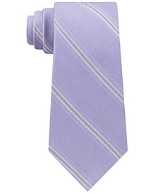 Calvin Klein Men's Creme Stripe Slim Silk Tie