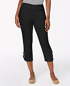 JM Collection Buckle-Hem Capri Pants, Created for Macy's