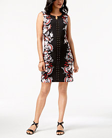 JM Collection Petite Printed Embellished Sheath Dress, Created for Macy's