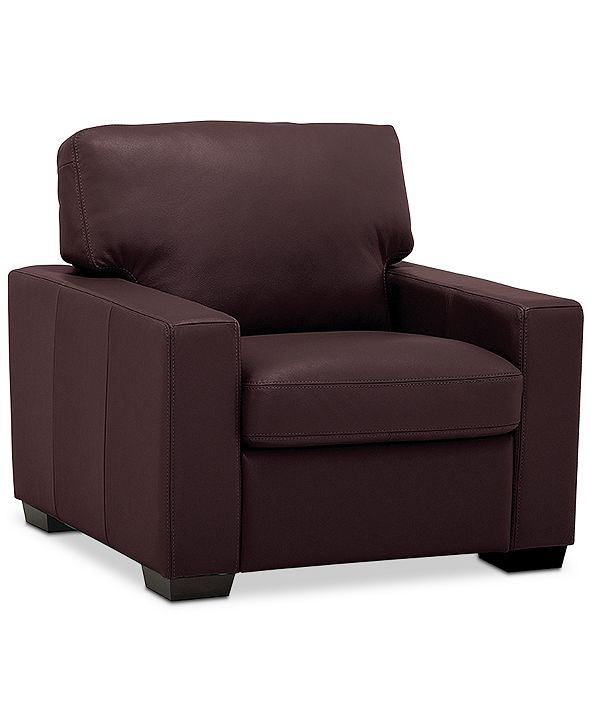 "Furniture Ennia 36"" Leather Armchair, Created for Macy's"