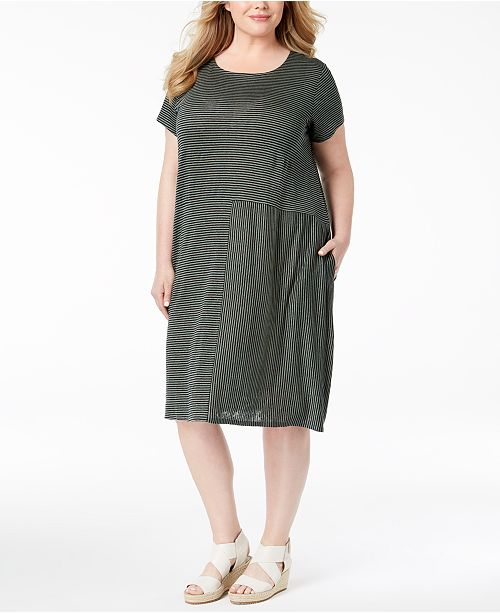 Eileen Fisher Plus Size Organic Linen Dress & Reviews - Dresses ...