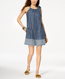 Trina Turk Tie-Shoulder Denim Dress