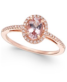 Morganite (5/8 ct. t.w.) and Diamond (1/6 ct. t.w.) Ring in 14k Rose Gold