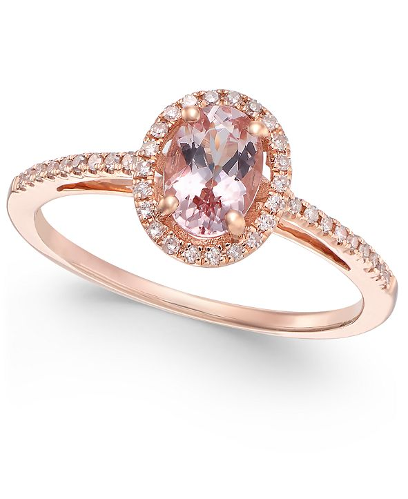 Macy's Morganite (5/8 ct. t.w.) and Diamond (1/6 ct. t.w.) Ring in 14k Rose Gold