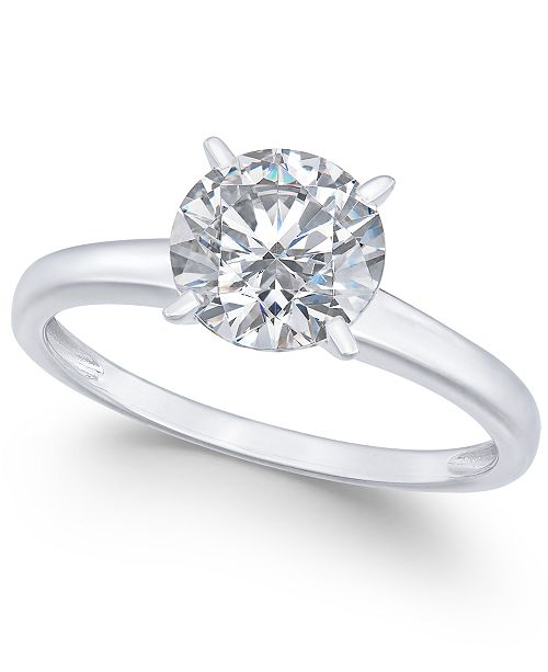Arabella Swarovski Zirconia (3-1/3 ct. t.w.) Solitaire Engagement Ring in 14k White Gold