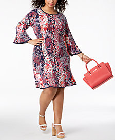 MICHAEL Michael Kors Plus Size Patchwork Floral-Print Flounced Dress