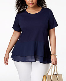 MICHAEL Michael Kors Plus Size Double-Ruffled Hem Top