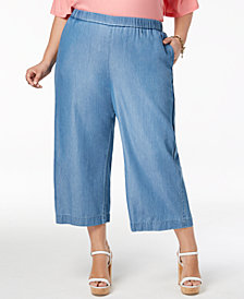 MICHAEL Michael Kors Plus Size Wide-Leg Chambray Pants