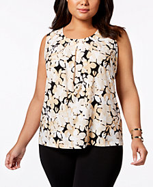 Kasper Plus Size Floral-Print Pleat-Neck Shell