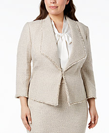 Kasper Plus Size Tweed Kiss-Front Blazer