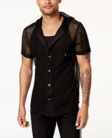 Mr. Turk X I.N.C. Men's Big Mesh Hooded Shirt, Created for Macy's